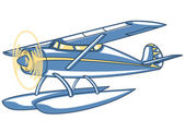 Vector retro seaplane Illustration clip art