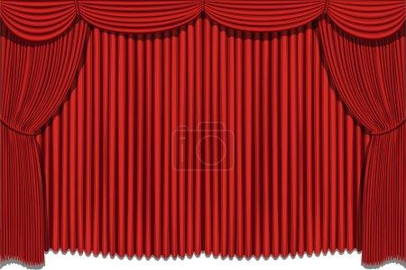 Illustration pour Rideaux rideaux rouges rideau. Pas de purée, pas de gradient. Vecteur - image libre de droit
