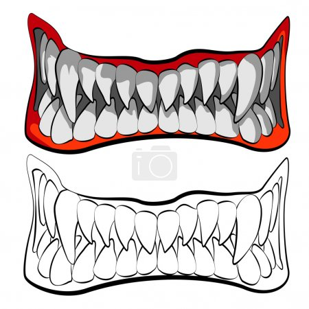 Illustration for Vector tattoo artwork. the jaws of a monster - Royalty Free Image
