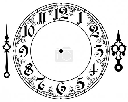 Illustration for Vector vintage clock on white . Illustration clip art - Royalty Free Image