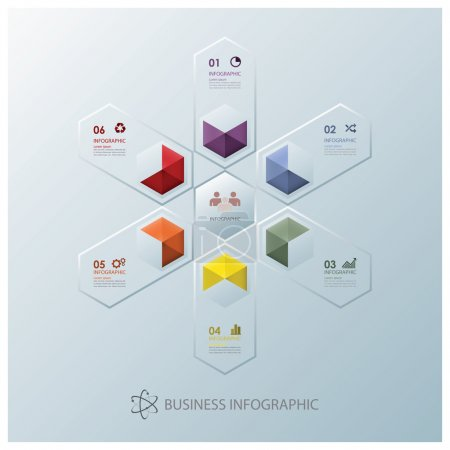 Illustration for Modern Fusion Hexagon Business Infographic Design Template - Royalty Free Image
