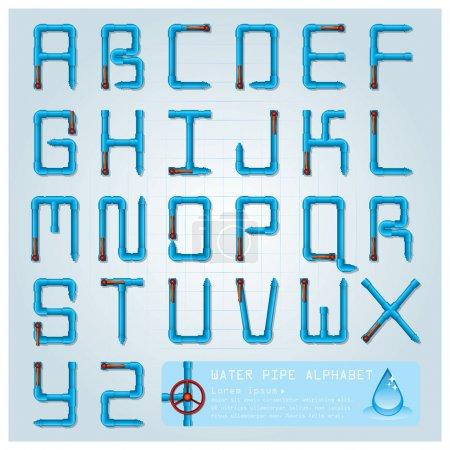 Illustration pour Modèle de conception de caractères Alphabet tuyau d'eau - image libre de droit