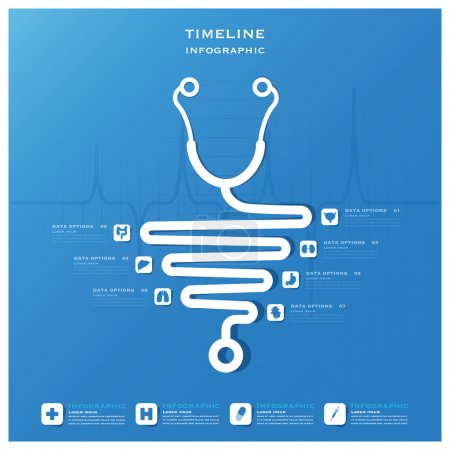Illustration for Timeline Health And Medical Infographic Design Template - Royalty Free Image