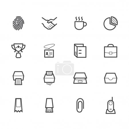 Office black icon set on white background