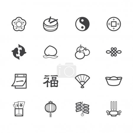 Chinese new year black icon set on white background