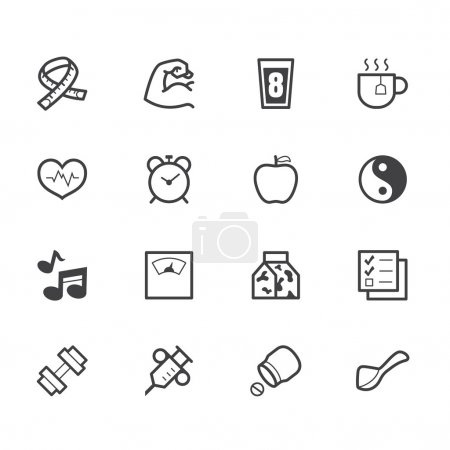 Healthy element vector black icon set on white background
