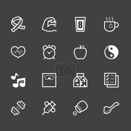 Healthy element vector white icon set 1 on black background