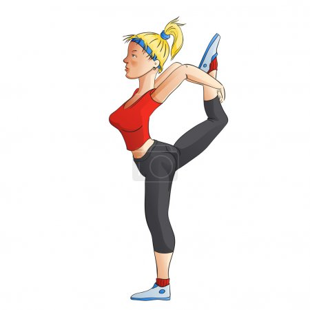 Young girl doing streching exercises