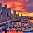 High dynamic image of Seattle skyline in dramatic ...