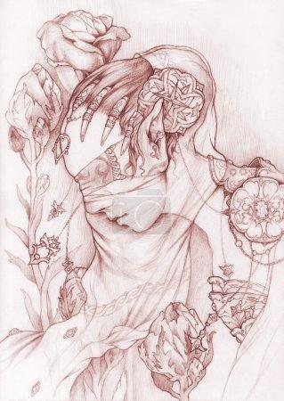 Elf maiden portrait with flowers.