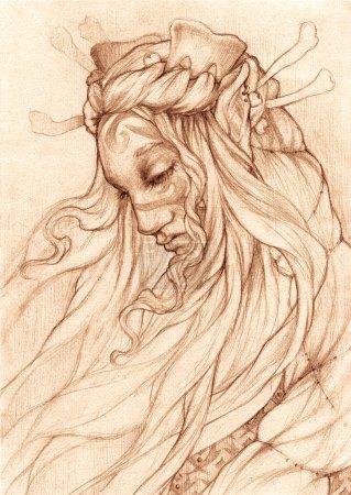 Pencil drawing. Portrait of an elf queen.