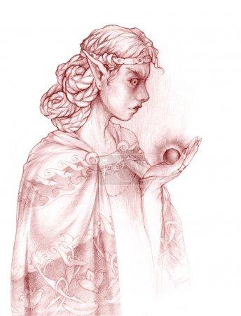 Elf holding dark artefact. Black magic.