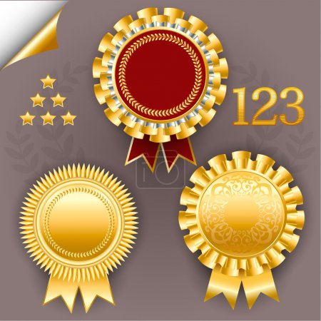 Vector set of red and gold award ribbon badges.