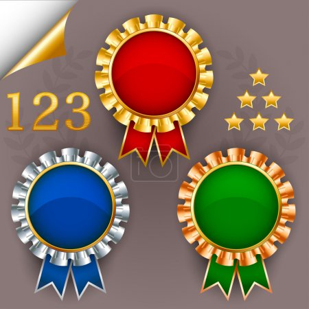 Illustration for Three color vector award ribbon badges for 1, 2 and 3 places. - Royalty Free Image
