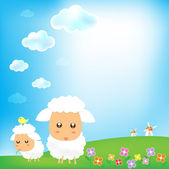 Sky and sheep with grass wind mill background 002