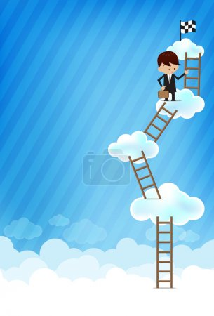Illustration for Business man and stair on bluesky background Vector EPS10 - Royalty Free Image