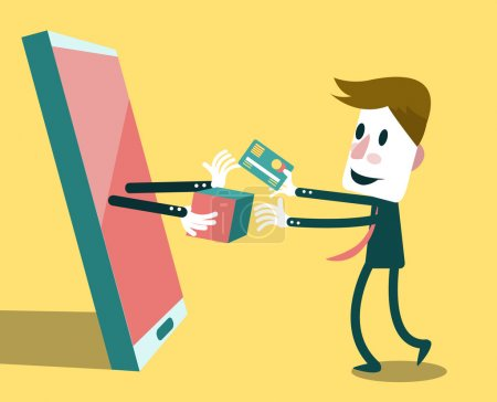 Illustration for Digital marketing and e-commerce. business concept.vector - Royalty Free Image
