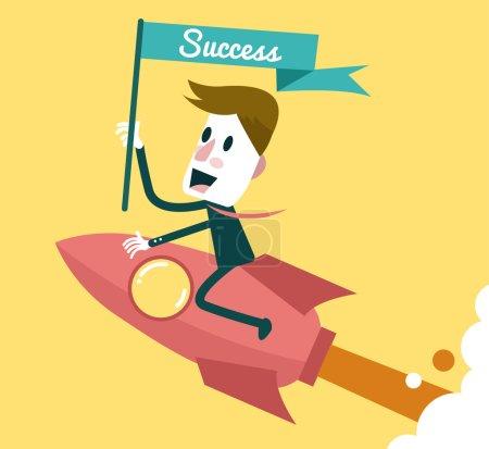Successful businessman ridding on rocket .