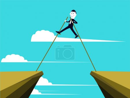 Businessman is getting through the obstacles to reach his goals.