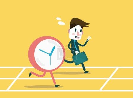 Businessmen racing with clock.