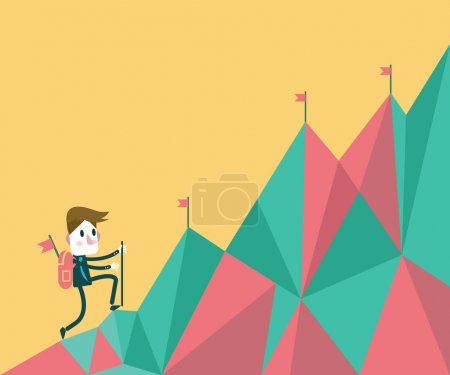 Businessman climbing hill.