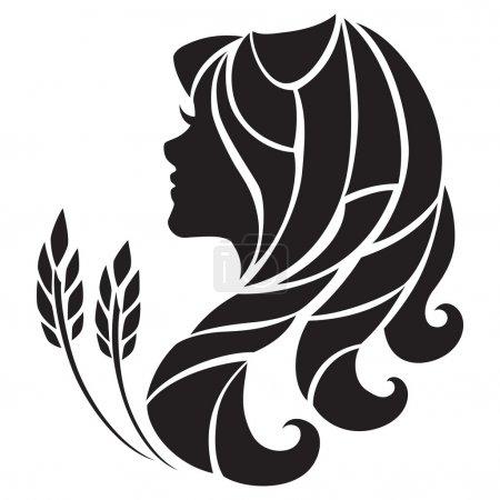 Illustration for Stylized Virgo zodiac sign isolated on white background. - Royalty Free Image