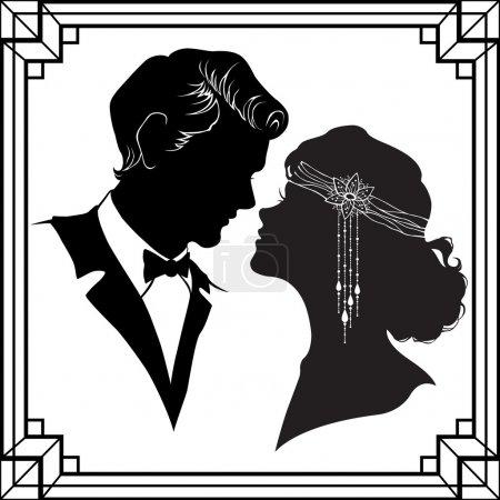 Silhouette of couple in retro style