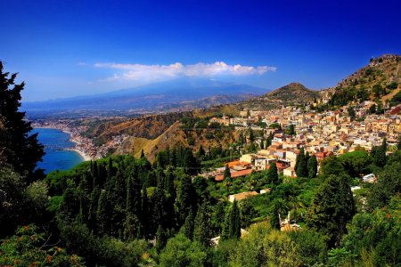 Traditional Sicilian village Taormina with view on...