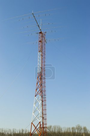Photo for High pole with amateur  Yagi radio antenna on top - Royalty Free Image