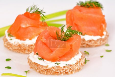 Sandwich with smoked salmon  on white background...