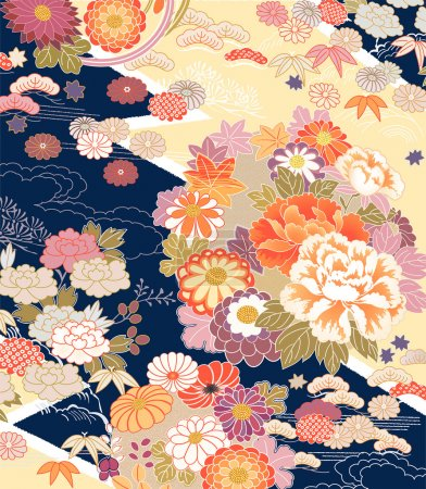 Illustration for Illustration of fragment of Vintage Kimono - Royalty Free Image