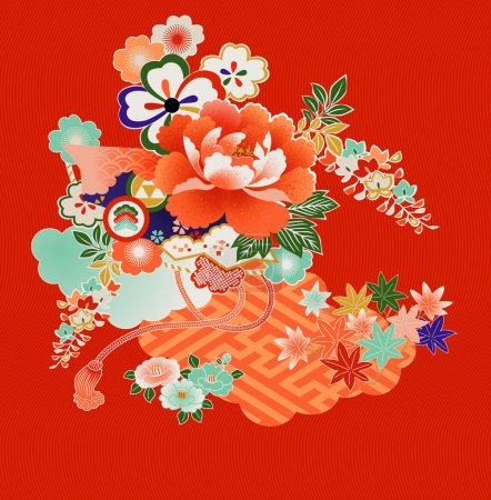 Illustration for Floral montage from vintage Japanese kimono designs - Royalty Free Image