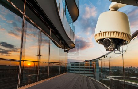 CCTV operating outside office balcony