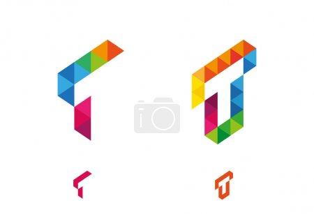 Illustration pour Illustration vectorielle d'icônes abstraites basée sur la lettre T - image libre de droit