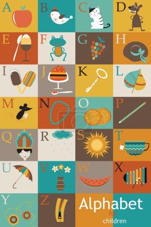 Alphabet for children. Vector illustration