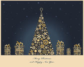 Christmas tree with cristmas gift boxes from golden snowflakes Christmas decorations Vector