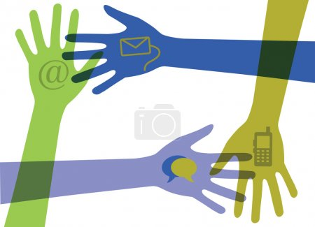 Illustration for Hands with communication icons - Royalty Free Image