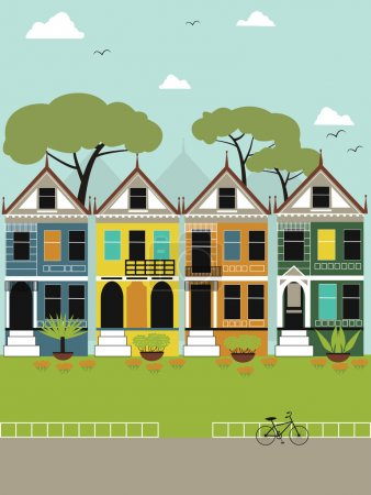 Illustration for Little town in California. - Royalty Free Image