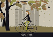 Woman on the bicycle Autumn central park in New York Vector