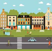 Illustration of city life