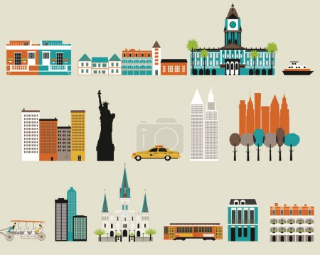 Illustration for Symbols of famous cities. Vector - Royalty Free Image