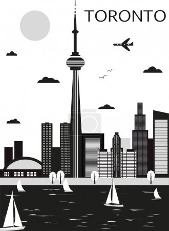 Toronto city.Canada. black and white...