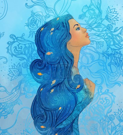 Aquarius astrological sign as a beautiful girl