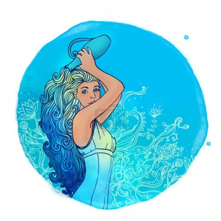 Aquarius zodiac sign as a beautiful girl