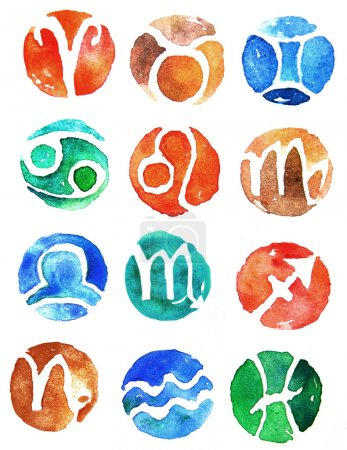 Photo for Watercolor zodiac signs icon set - Royalty Free Image