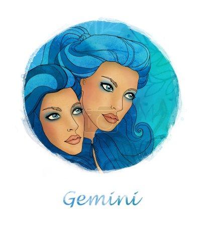 Gemini zodiac sign as a two beautiful girls