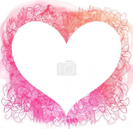 Photo for Abstract watercolor heart - Royalty Free Image