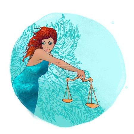Libra zodiac sign as a beautiful girl