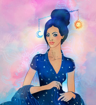 Libra astrological sign as a beautiful girl
