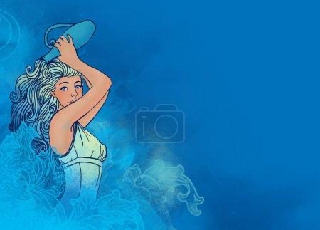 Scorpio zodiac sign as a beautiful girl with jug